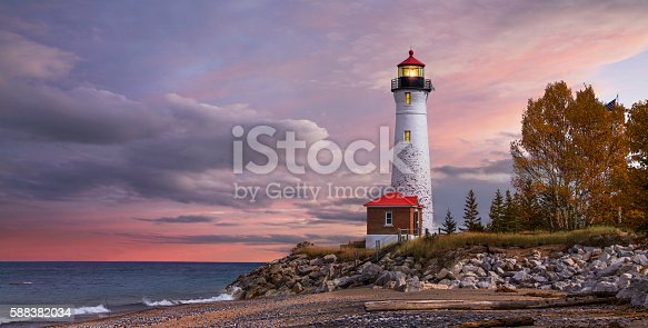 istock Sunset at the Crisp Point Lighthouse 588382034