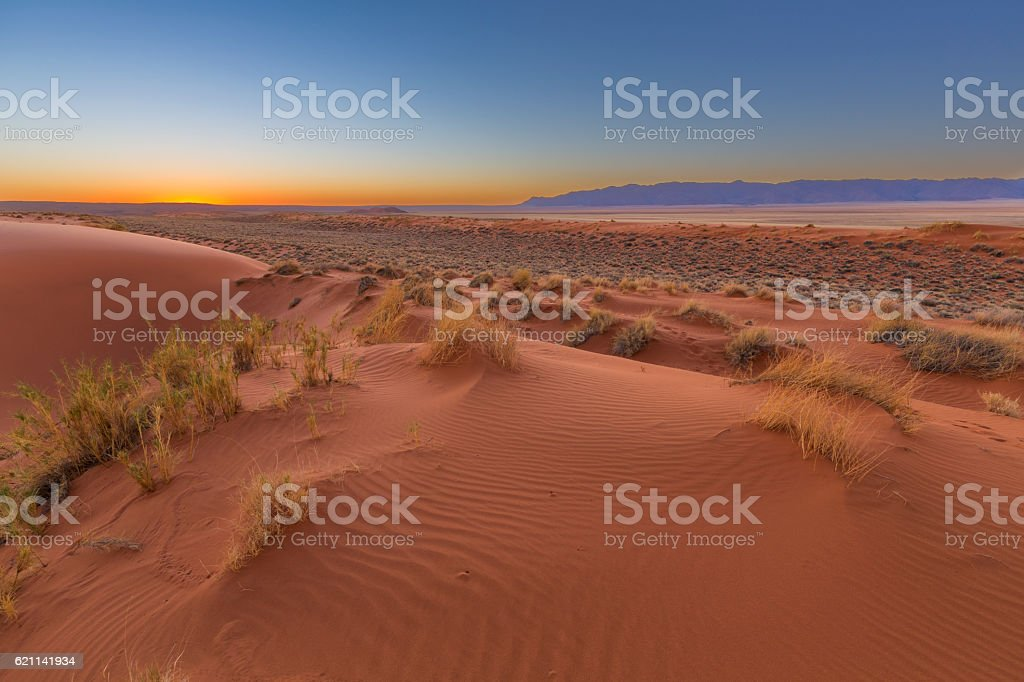Sunset at the dunes stock photo