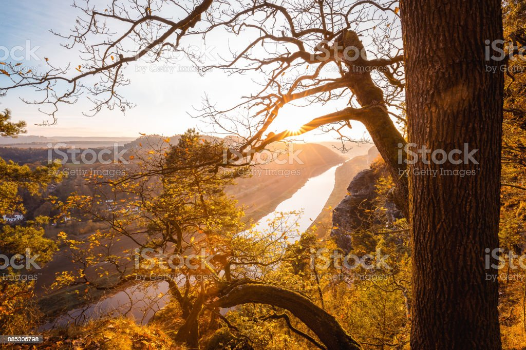 Sunset at the elbe sandstone mountains stock photo