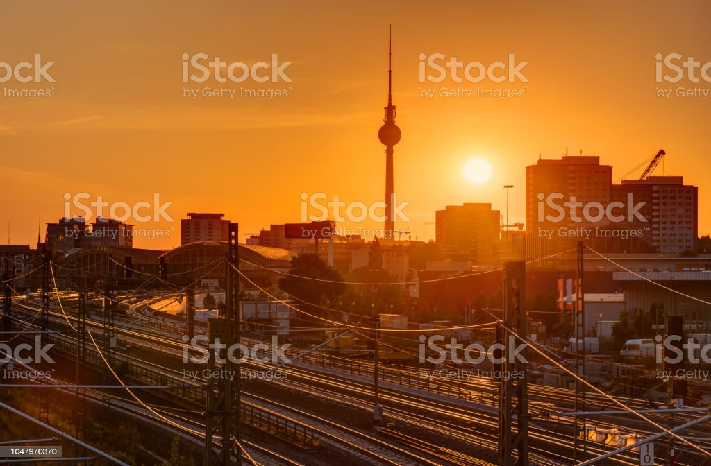 Sunset at the famous Television Tower stock photo