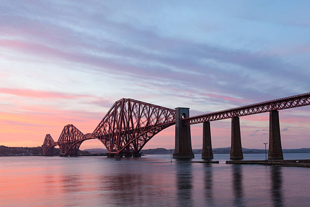 Sunset at the Firth Of Forth Rail Bridge, South Queensferry. stock photo