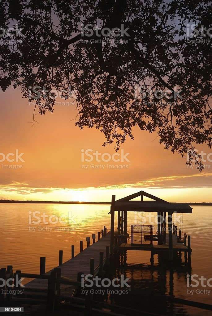 Sunset at the Fishing Pier royalty-free stock photo