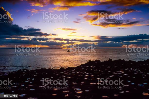 Sunset at the Giants Causeway.