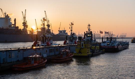 Sunset at the Hamburg harbor - Elber River shipyards