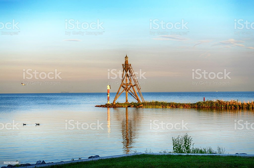 Sunset at the harbor of Hoorn,the Netherlands stock photo