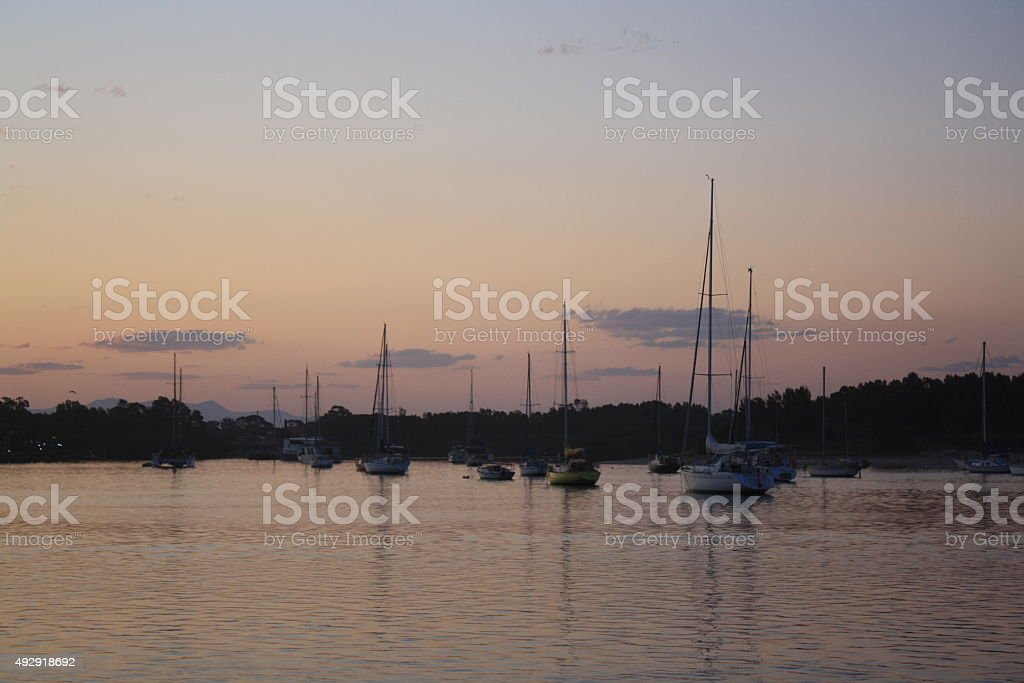 sunset at the harbour stock photo