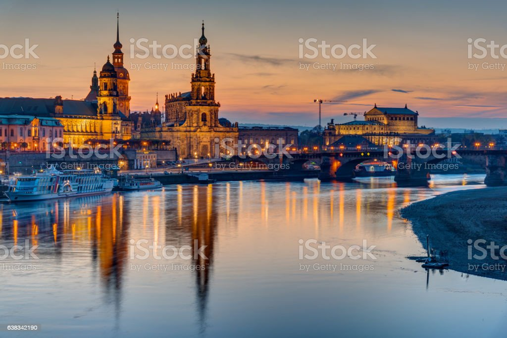 Sunset at the historic center of Dresden stock photo
