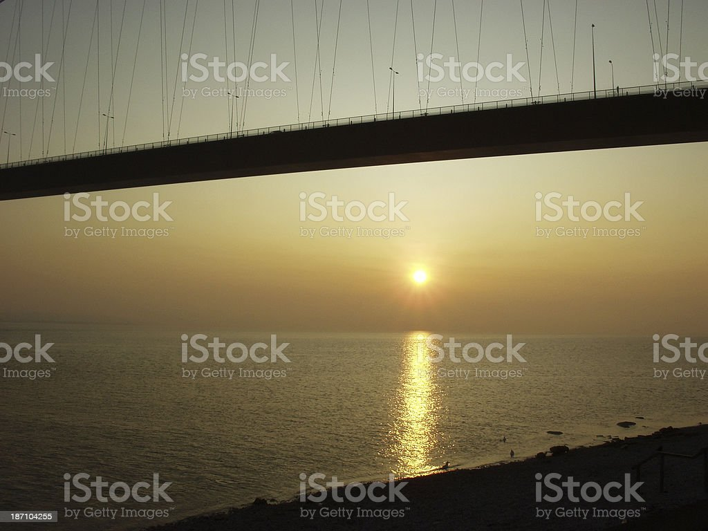 Sunset at the Humber Bridge royalty-free stock photo