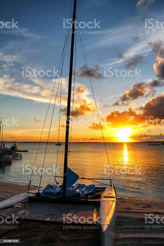 Sunset at the Island of Andros, Bahamas stock photo