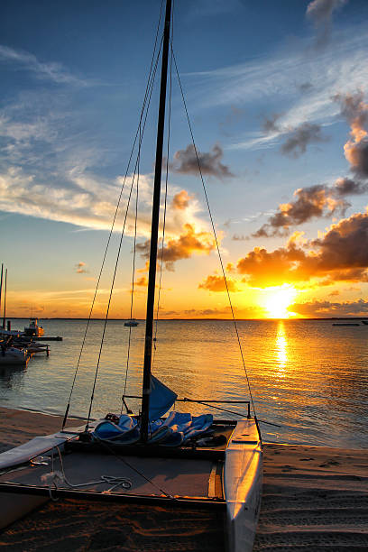 Sunset at the Island of Andros, Bahamas stock photo