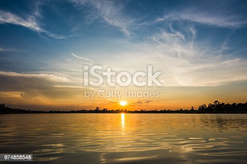 Colorful sky on sunset at the lake in the park landscape