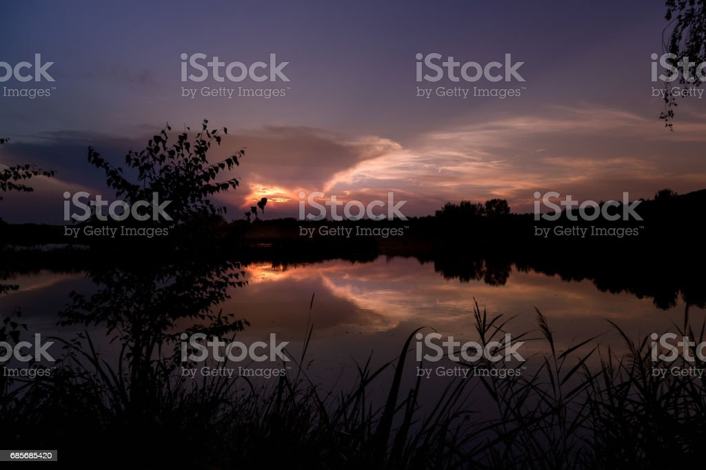 Sunset at the lake Murner See in Wackersdorf, Bavaria royalty-free 스톡 사진