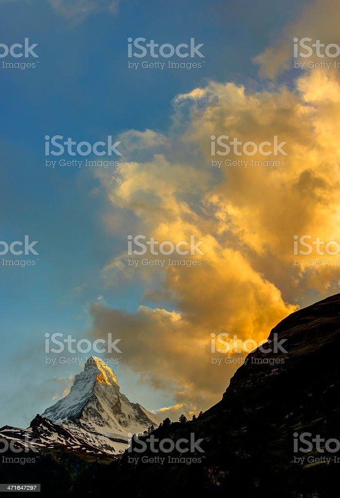 Sunset at the Matterhorn, Switzerland royalty-free stock photo