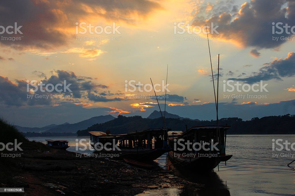 Sunset at the Mekong stock photo