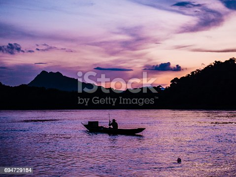 Sunset at the Mekong river in Luang Prabang Laos