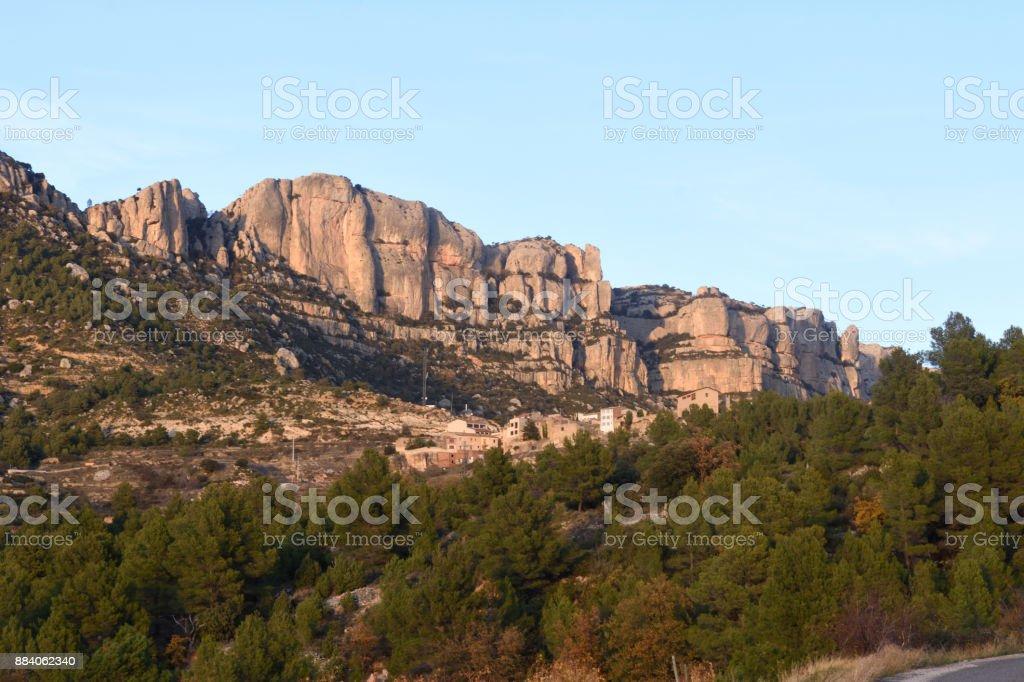 Sunset at the Montsant mountain near Morera de Montsant, Tarragona province, Catalonia, Spain stock photo