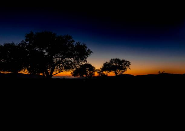 Sunset at the namib desert in Namibia stock photo
