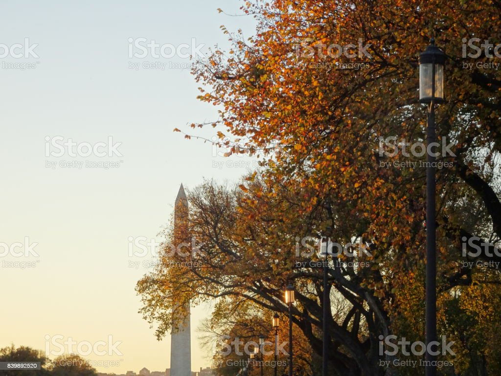 sunset at  the National Mall in Autumn stock photo