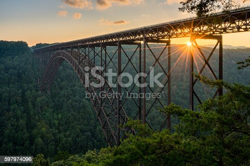 istock Sunset at the New River Gorge Bridge in West Virginia 597974096