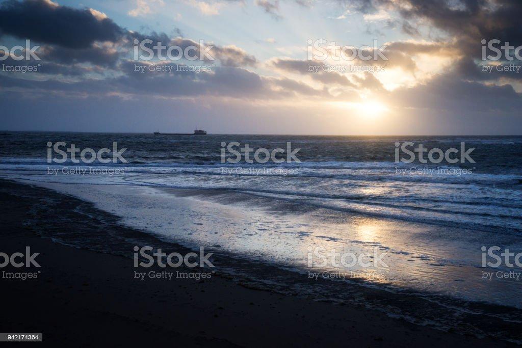 Sonnenuntergang an der Nordsee-Küste – Foto