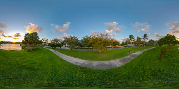 Sunset at the park 360 vr photo for virtual tour