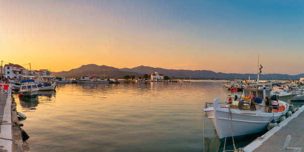 Sunset at the port of Elafonisos in Greece. Magic view on summer. stock photo