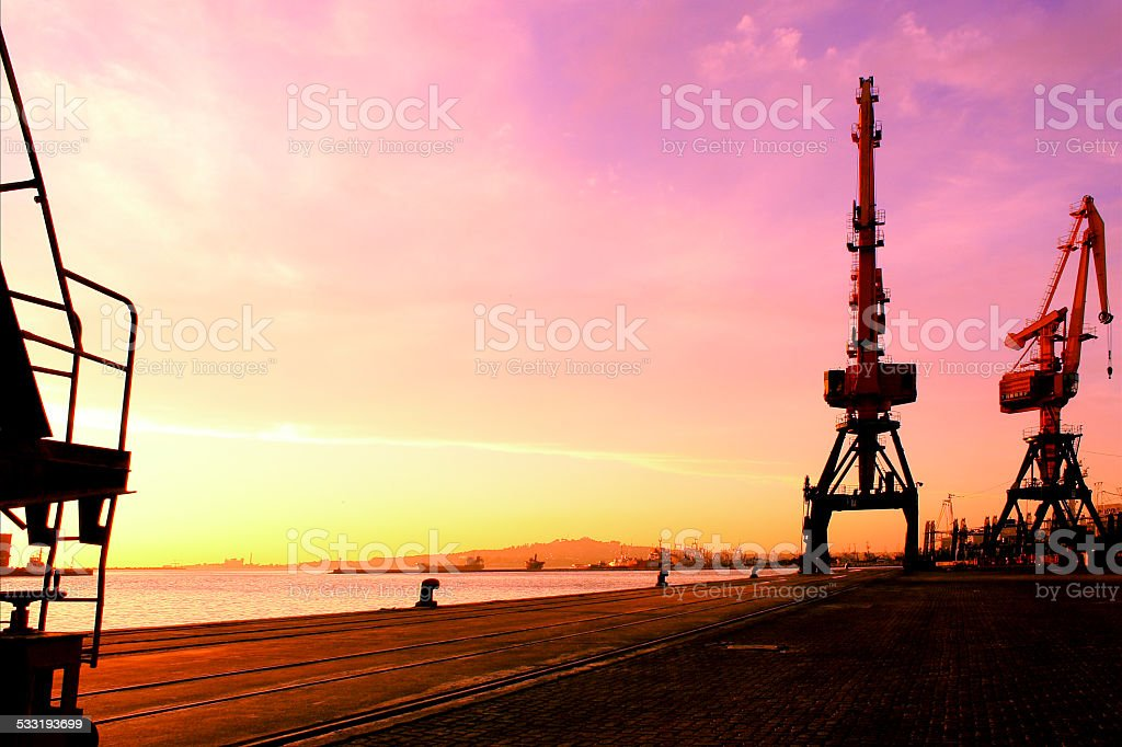 Sunset at the port stock photo