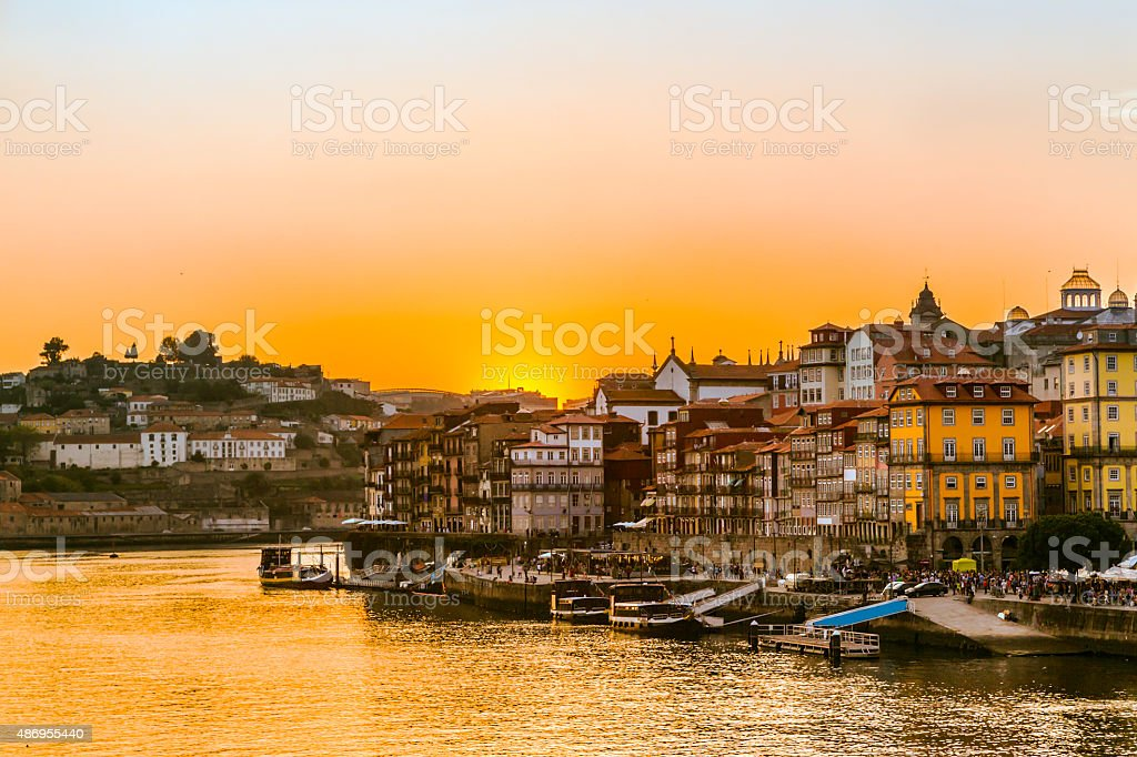 Sunset at the Ribeira in Porto river Douro stock photo