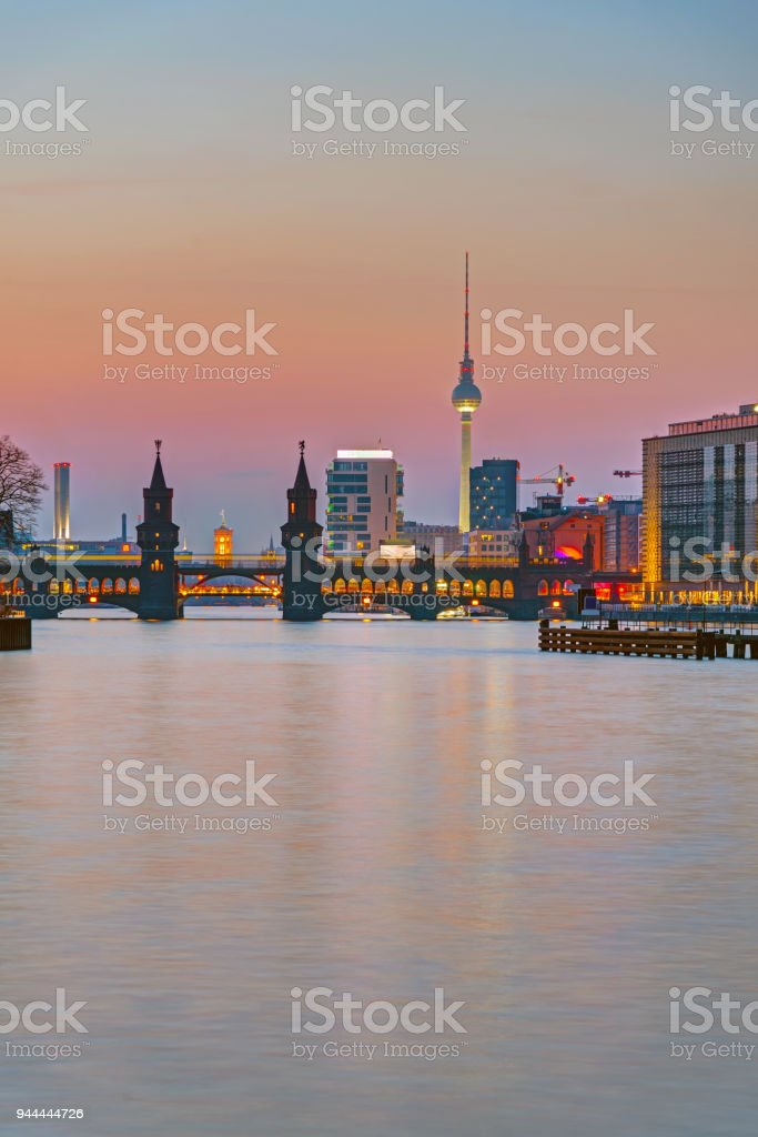 Sunset at the river Spree in Berlin stock photo
