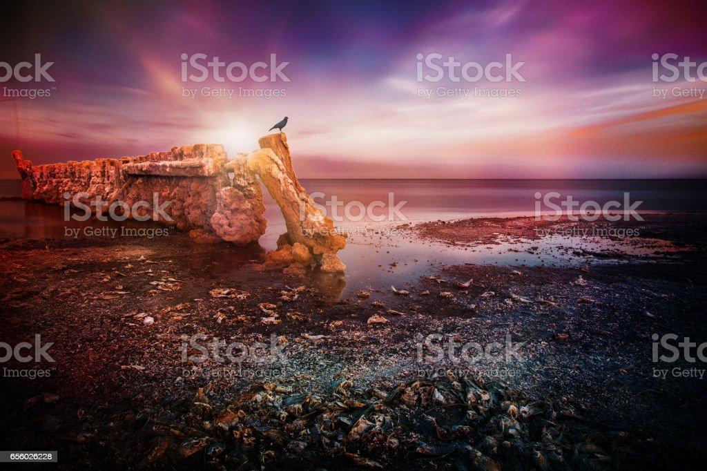 Sunset at the Salton Sea stock photo