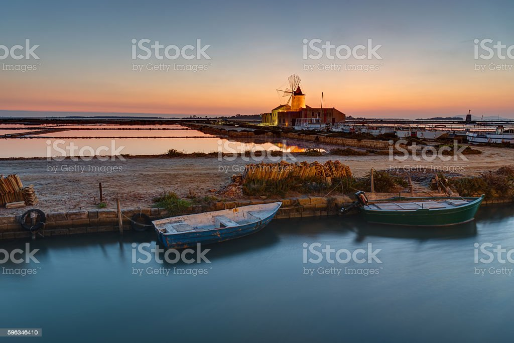 Sunset at the saltpans of Marsala royalty-free stock photo