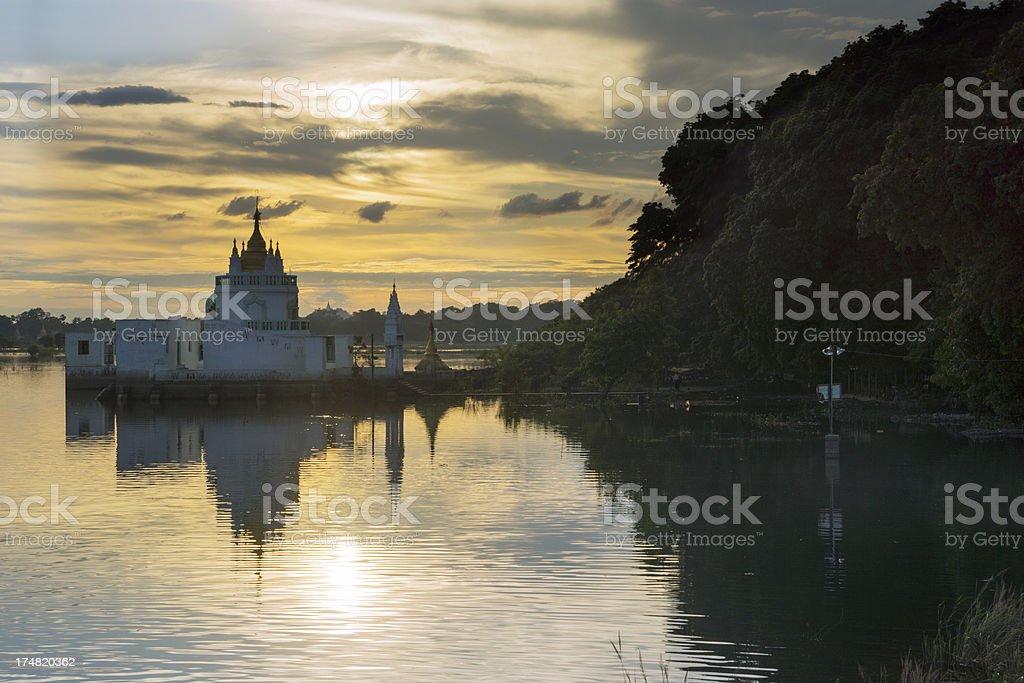 Sunset at the Shwe Modeptaw Pagoda, Mandalay - Myanmar stock photo