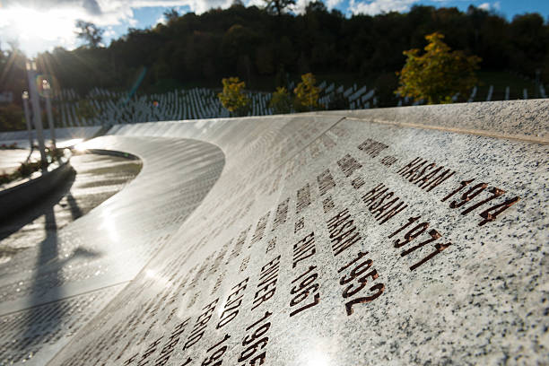Sunset at the Srebrenica Genocide Memorial in Bosnia stock photo
