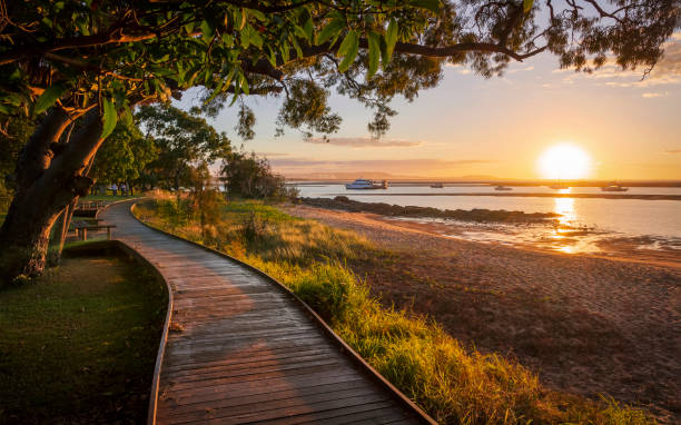 sunset at the town of seventeen seventy - queensland foto e immagini stock