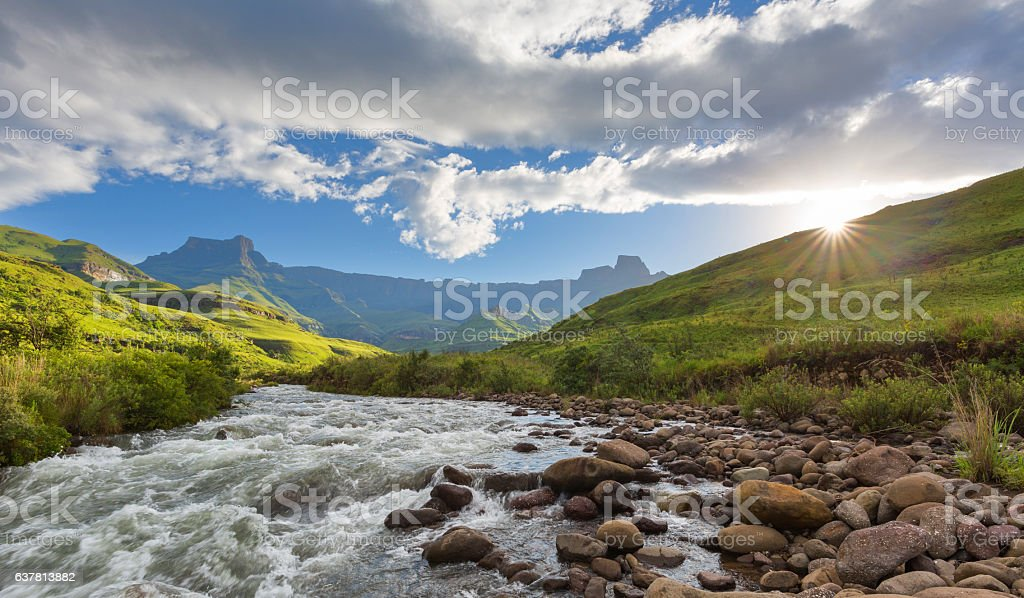 Sunset at the Tugela River stock photo