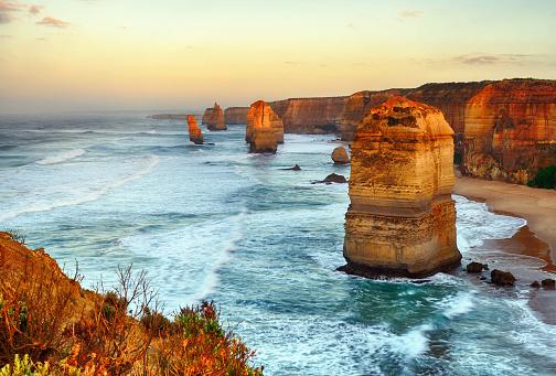 Sunset At The Twelve Apostles Sea Rocks Stock Photo - Download Image Now