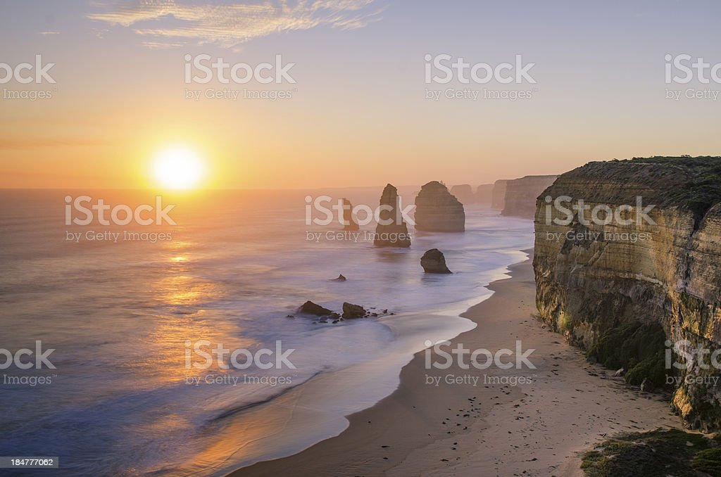 Sunset at The Twelve Apostles, Victoria, Australia stock photo