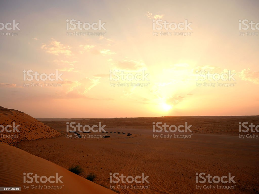 Sunset at the Wahiba desert camp, Oman stock photo