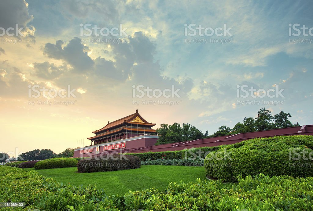 Sunset at Tianan Men in Beijing royalty-free stock photo