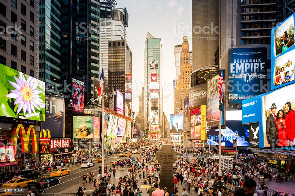 Sunset At Times Square In New York City, USA stock photo