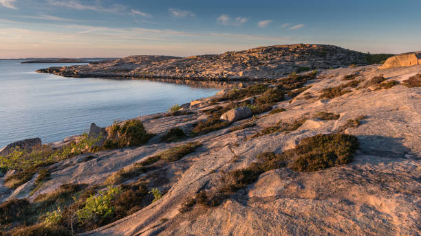Sunset at Tångevik, on the West Coast of Sweden stock photo