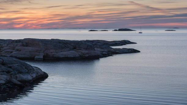 Sunset at Tångevik, on the West Coast of Sweden stock photo