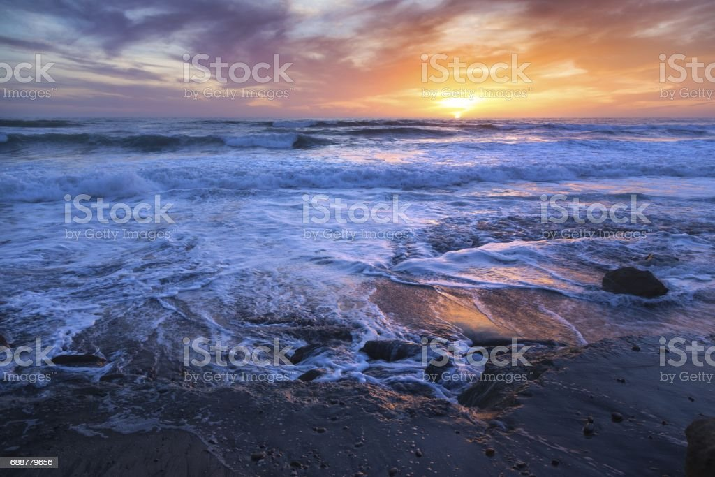 Sunset at Torrey Pines State Beach stock photo
