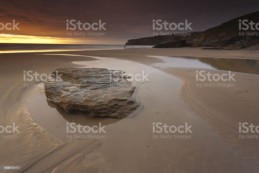 Sunset at Trebarwith Strand stock photo