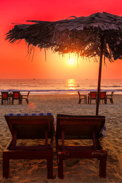 Sunset at tropical beach with deck chairs under ubrellas stock photo