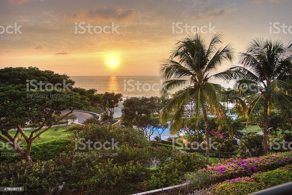 Sunset at tropical resort. royalty-free stock photo