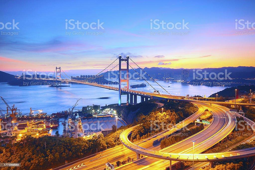 Sunset at Tsing Ma Bridge stock photo