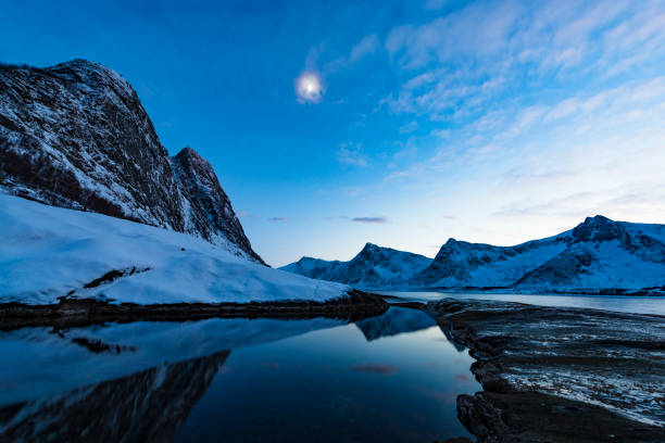 Sunset at Tungeneset on Senja island in Northern Norway during winter stock photo