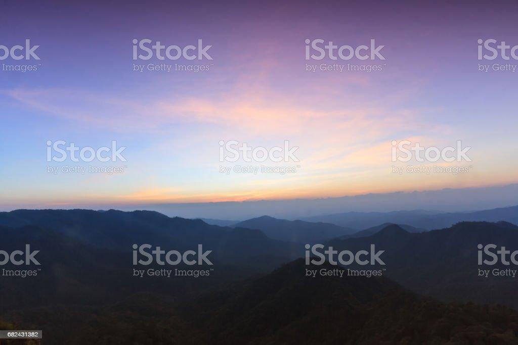 Sunset at twilight in Doi Pha Ngom, Thailand. royalty-free stock photo
