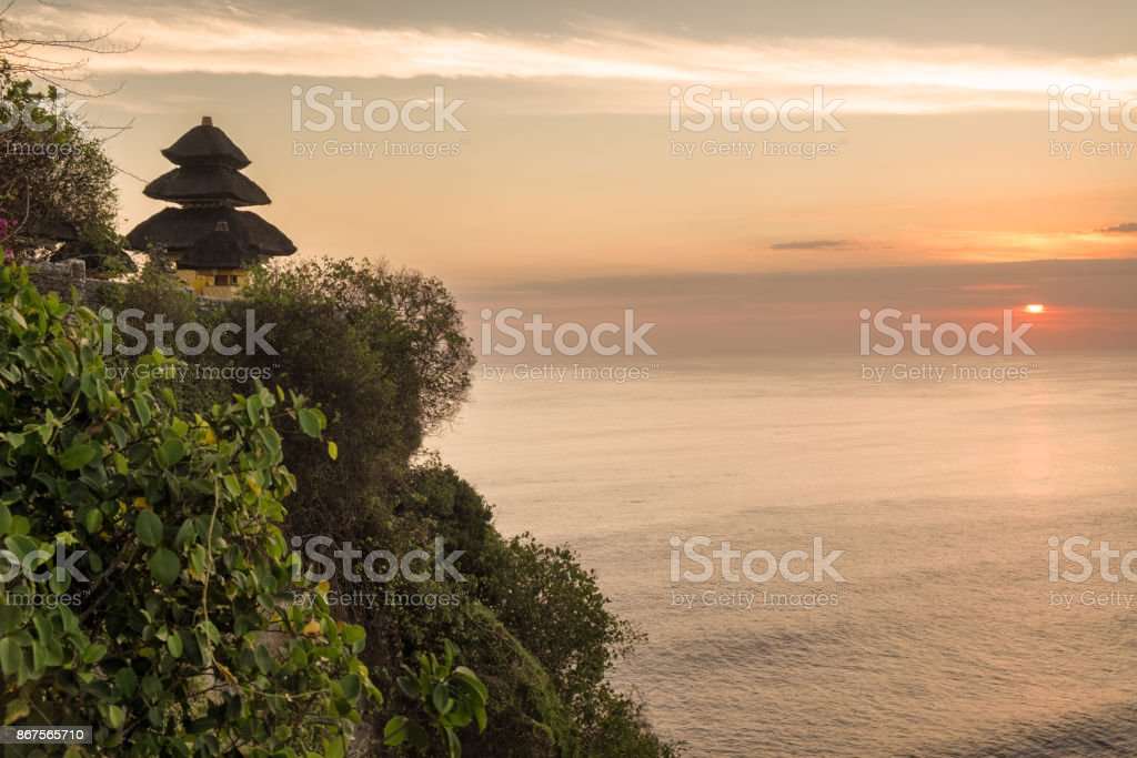 Sunset at Uluwatu Temple in Bali, Indonesia stock photo